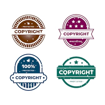 Set of creative copyright stamps