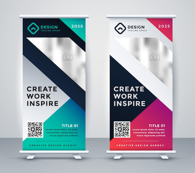 Set of creative display rollup standee banner