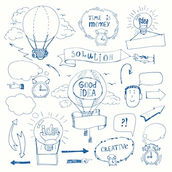 Set of creative doodles thinking concept. business idea, solution, creativity and success.