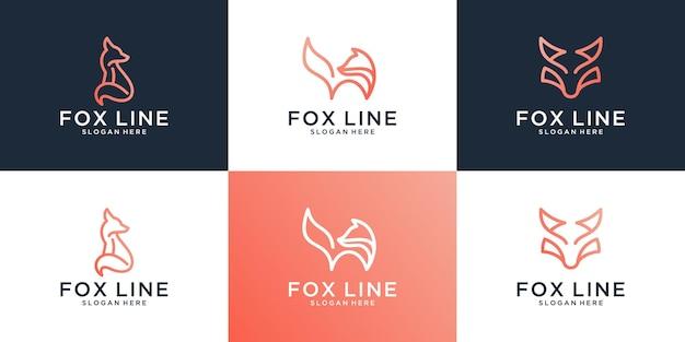 Set of creative fox logo design template