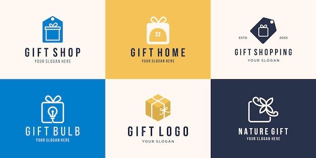 Set of creative gift logo template