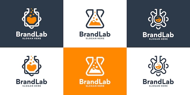 Set of creative glass laboratory logo design collection