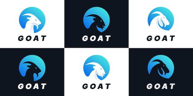Set of creative goat combination circle logo design collection