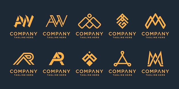 Set of creative golden letter monogram logo design inspiration