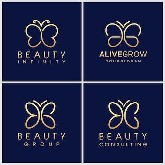 Set of creative golden minimalist butterfly logo design template