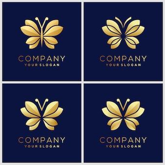 Set of creative golden minimalist butterfly monogram logo. beauty, luxury spa style.
