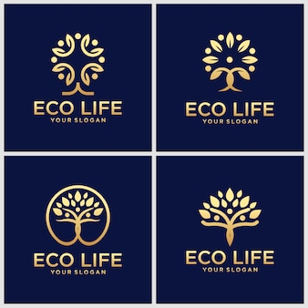 Set of creative golden people tree   logo design inspiration.