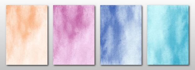 Set of creative hand painted abstract watercolor arts background.