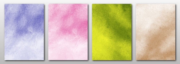 Set of creative hand painted abstract watercolor background.