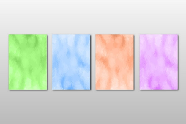 Set of creative hand painted abstract watercolordesign