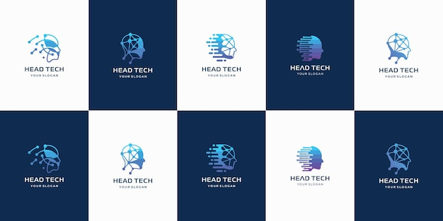 Set of creative hea tech logo with abstract shape logo template