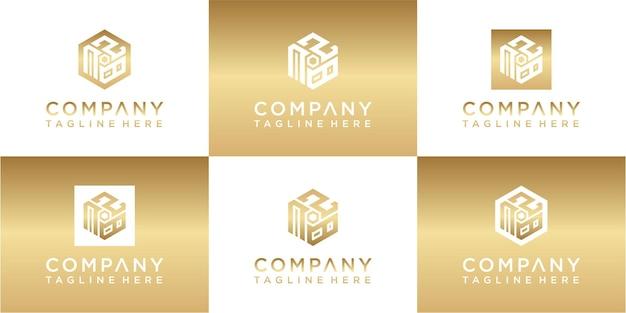 Set of creative hexagon monogram gold logo design