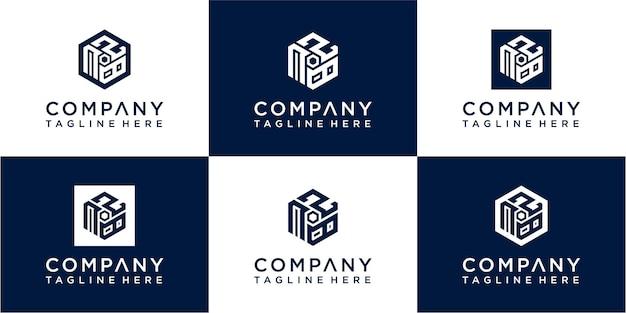 Set of creative hexagon monogram logo design