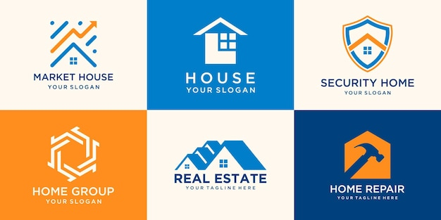 Set of creative house logo collection combined hammer, shield element, abstract buildings.