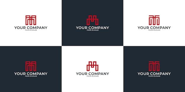 Set creative idea letter m logo design