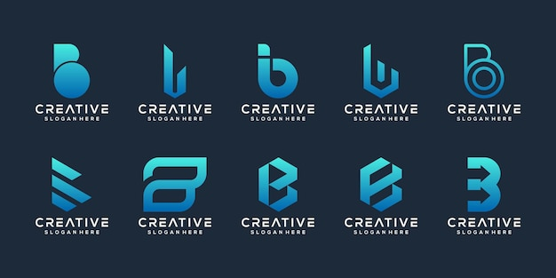 Set of creative initial letter b logo design template