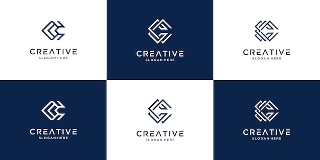 Set of creative initial letter c logo design collection.