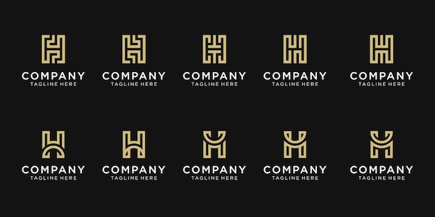 Set of creative initial letter h logo template.