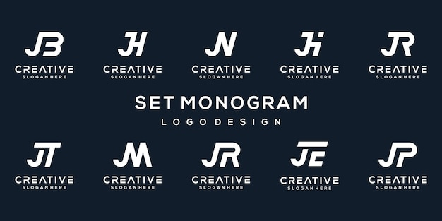 Set of creative initial letter j logo template