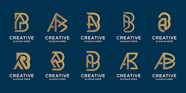 Set of creative initial letter a and letter b design bundle. logo set design for your company.