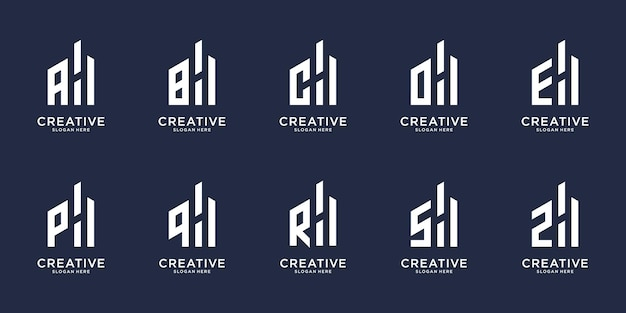 Set of creative initial letter a-z with combined letter h logo design. set icon for your business.