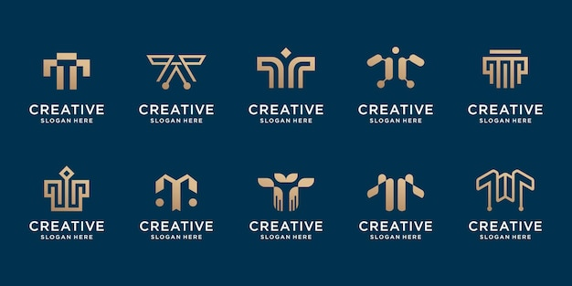Set of creative initial t logo template. logo for technology, identity, corporate, business company. premium vector