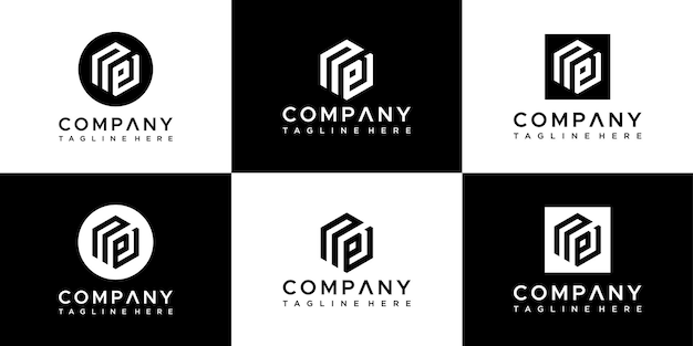 Set of creative initials letter np logo design