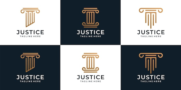 Set of creative justice legal attorney logo template