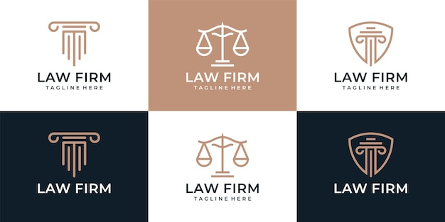 Set of creative law firm justice element logo design attorney legal jury