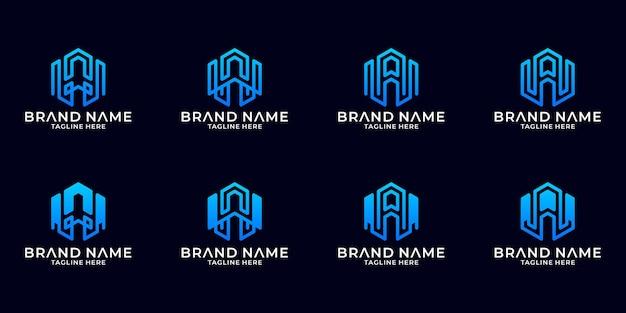 창의적인 문자 a 로고 디자인을 설정합니다. 이니셜 a 로고 디자인