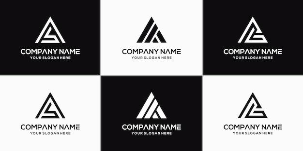 Set of creative letter ab logo design template