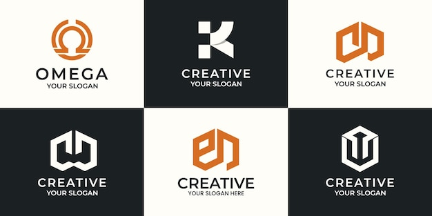 Set of creative letter abstract logo design