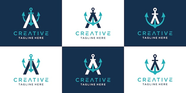 Set of creative letter a and anchor logo template