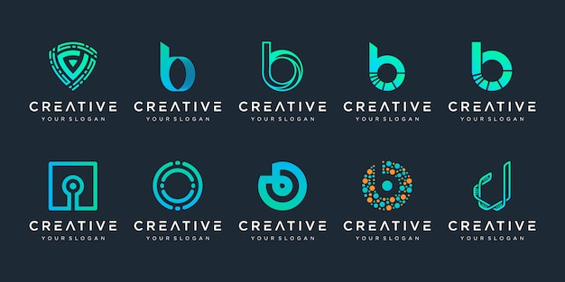 Set of creative letter b and d logo  template. icons for business of technology, digital, data, lab, simple.