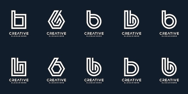 Set of creative letter b logo design collection