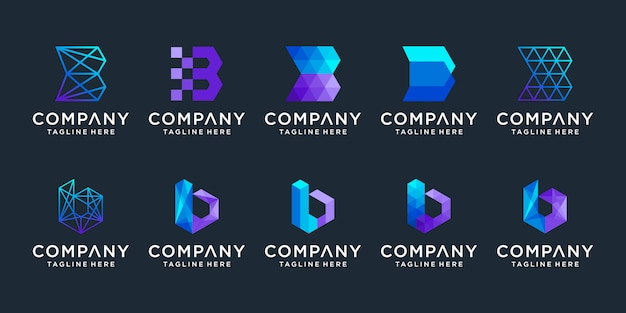 Set of creative  letter b logo design collection.
