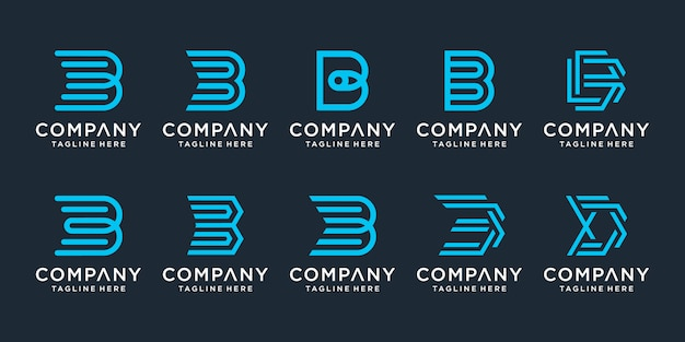 Set of creative letter b logo design inspiration