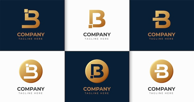 Set of creative letter b logo design template collection