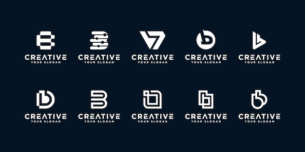 Set of creative letter b logos