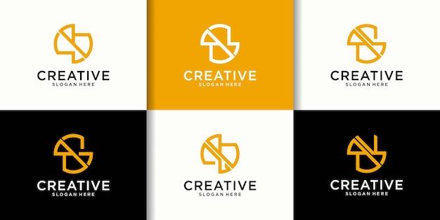 Set of creative letter b s e logo design template