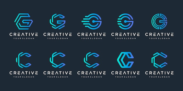 Set of creative letter c and letter g logo  template