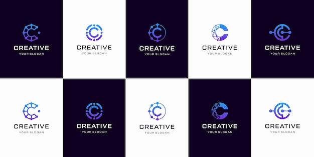 Set of creative letter c logo design template. logotypes for business of technology, digital, simple