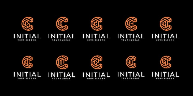 Set of creative letter c logo design template. with line art style