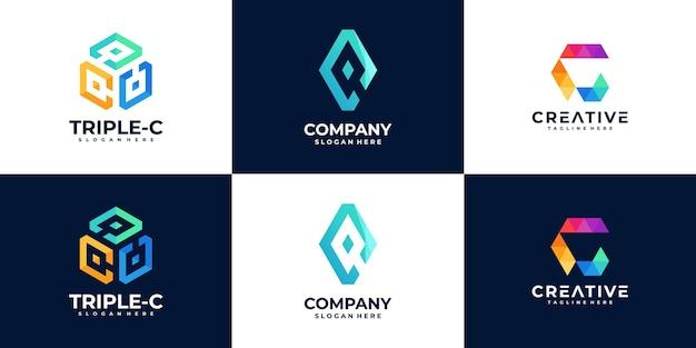 Set of creative letter c logo design template