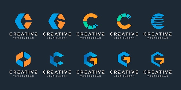 Set of creative letter c logo  template