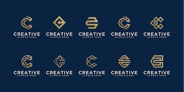 Set of creative letter c logos