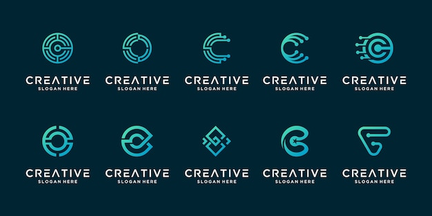 Set of creative letter c modern liner digital technology logo