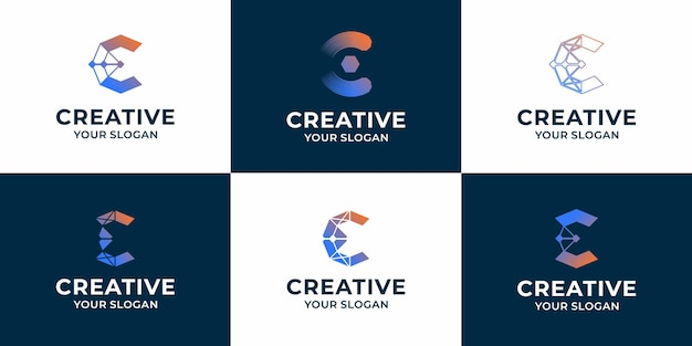 Set of creative letter c technology logo design