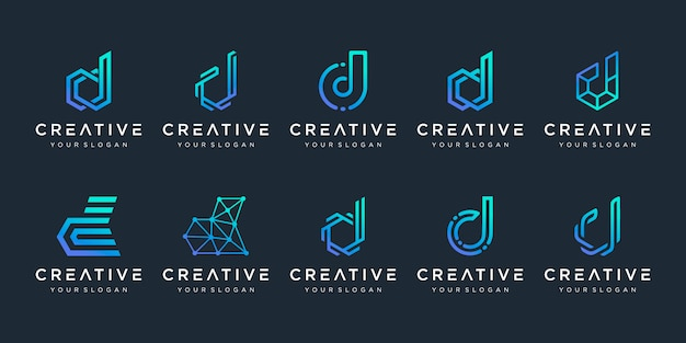 Set of creative letter d logo design template. logotypes for business of technology, digital, simple. Premium Vector