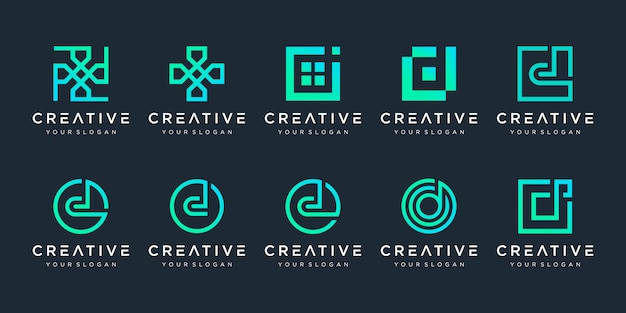 Set of creative letter d logo design template. logotypes for business of technology, digital, simple.